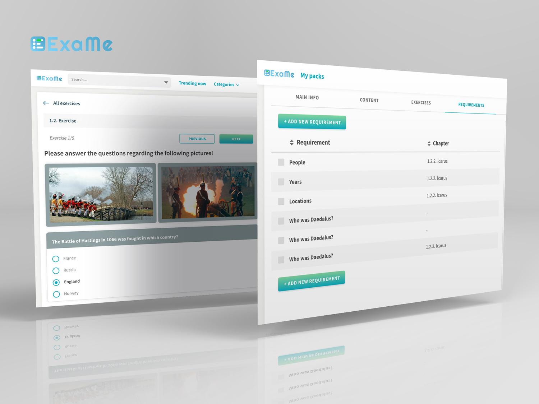 ExaMe webes alkalmazás fejlesztés